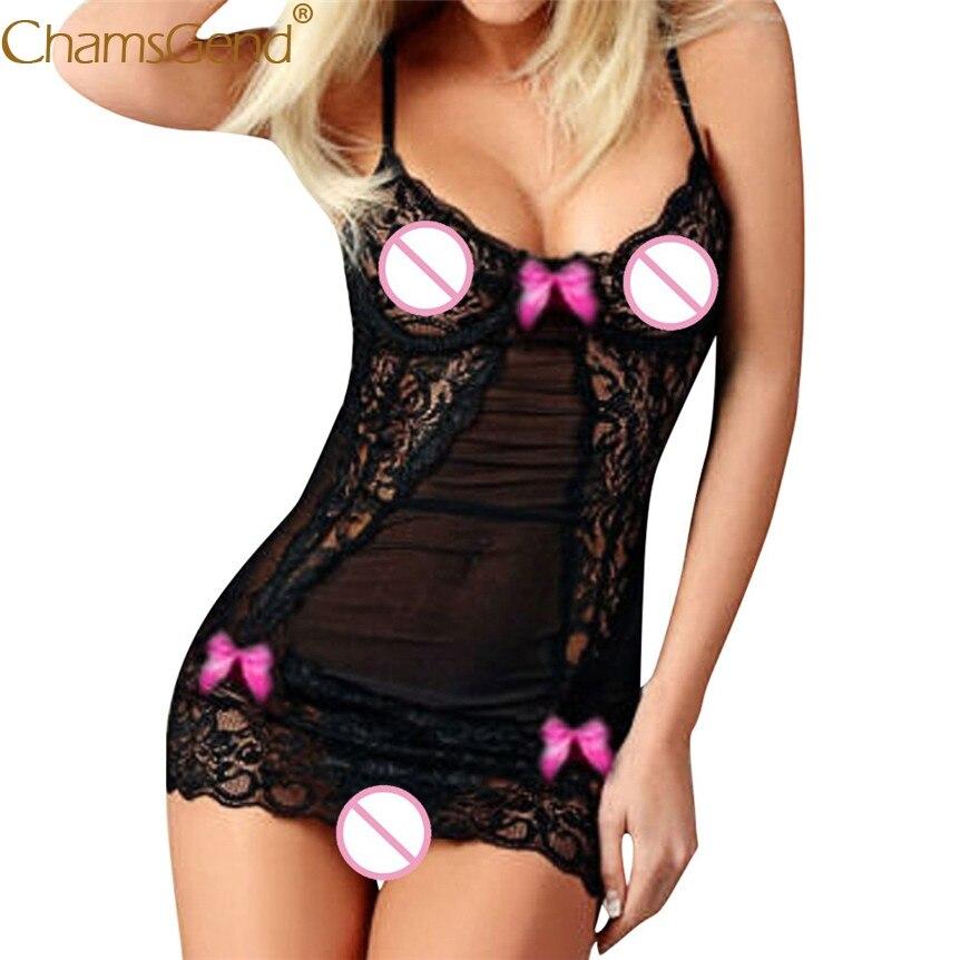 Chamsgend Newly Design Women Sexy Lace Exotic Dress Strappy Linegrie Babydolls See Through Sleepwear Underwear 80424