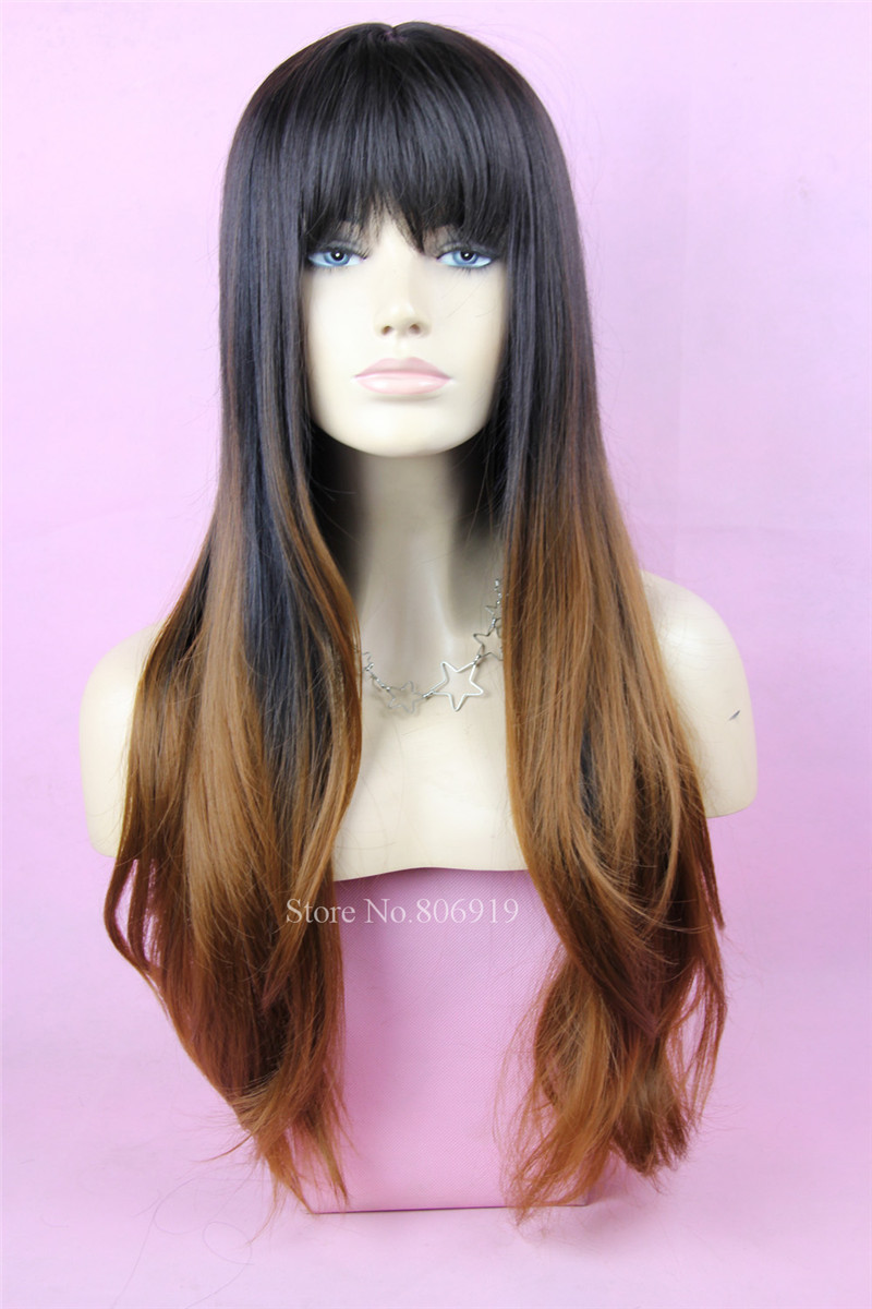 Ombre Synthetic Wigs For Black White Women Black Brown Burgundy Two