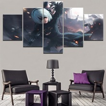 5 Pieces NieR Automata YoRHa Game Poster Wall Art Decorative Modular Framework High Quality Canvas Printed Modern Painting