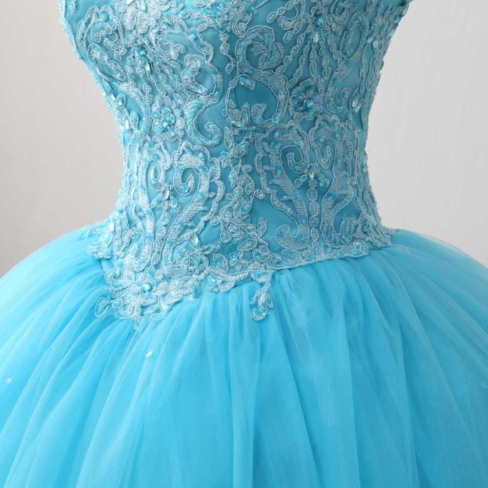 JaneVini Элегантный Синий бальное платье Длинное Пышное Платье с высокой горловиной аппликации из бисера спинки Тюль Пышные Платья Сладкие 16 Платья