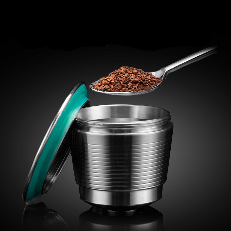 New Stainless Steel Metal For Nespresso Reusable Capsule Refillable Reusable for Nespresso Machine 1 Spoon + 1Brush