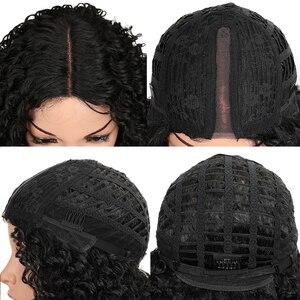 """Image 5 - マジックヘア 26 """"インチ合成レースフロント黒かつらアフリカ系アメリカ人の変態カーリー耐熱繊維かつらのための黒人女性"""
