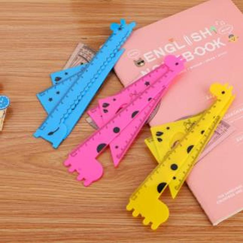 4pcs/set Giraffe Patchwork Ruler Kawaii Stationery Novelty Cute Rulers Student Soft Design Ruler Sewing Rules School Supplies