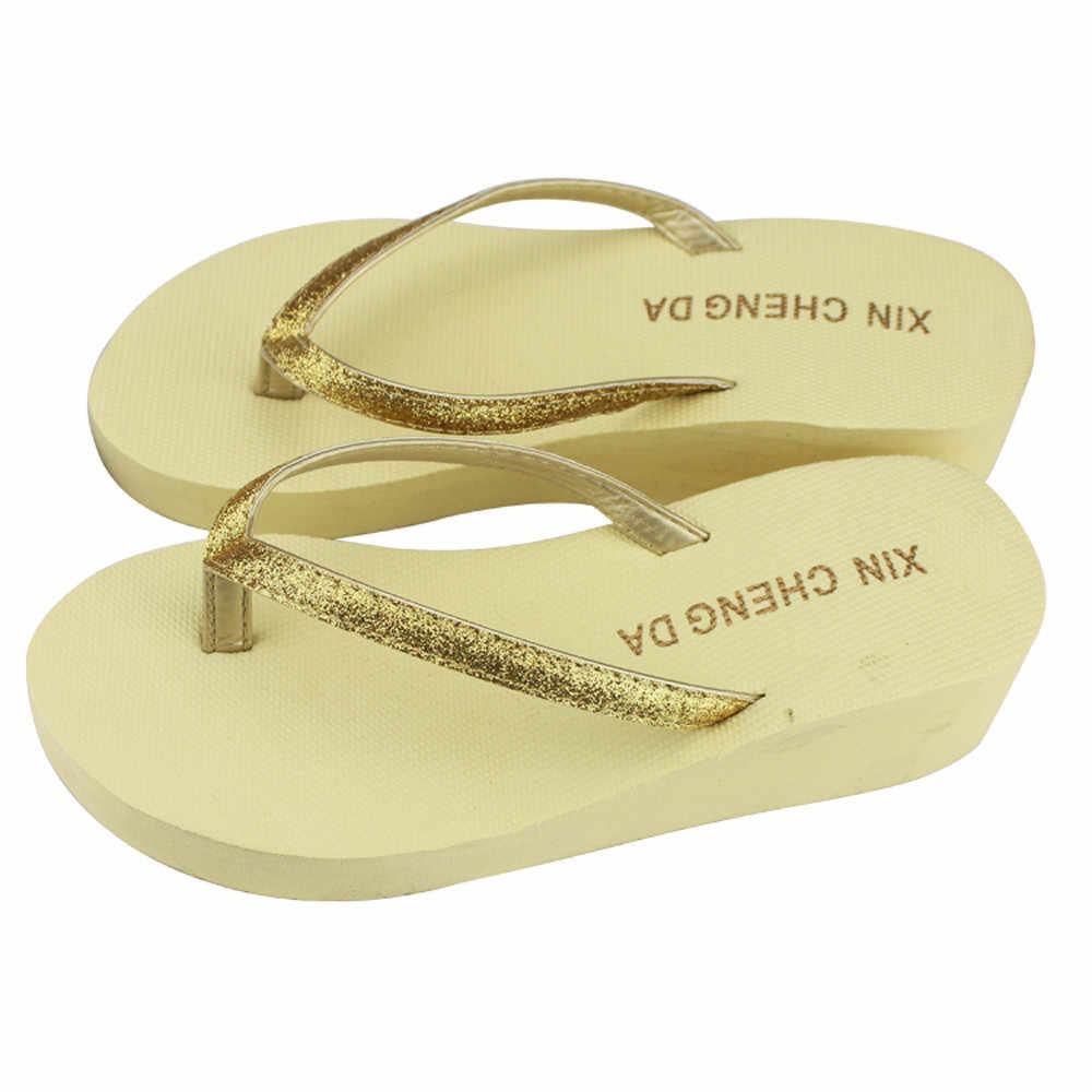 ... Women Summer Bling Strap Flip Flops Beach Slippers Shoes Platforms  Sandals 2018 Summer lady Shoes Platform ... 1ee832e577fb