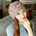 nimizi  New Fashion Lace Flower Hats Casual Style Cap Elegant Spring and Autumn Vintage Skullies Feminina Beanies Hats for Women