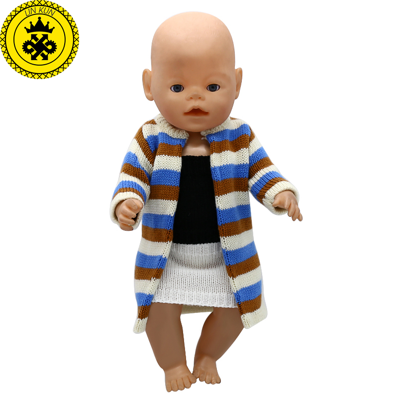 Baby Born Doll Clothes Wool Hand Knit Multicolor Stripe Jacket Suit Fit 43cm Zapf Baby Born Doll Accessories Birthday Gifts T-10 purple baby born doll dress clothes fit 43cm baby born zapf or 17inch doll accessories handmade fashion party skirt 015