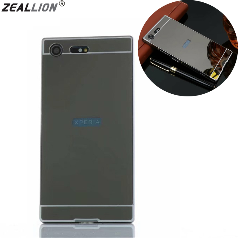 ZEALLION For Sony Xperia XZP XZ Premium Case Luxury Electroplating Mirror Aluminum Frame + Hard PC Cases Cover