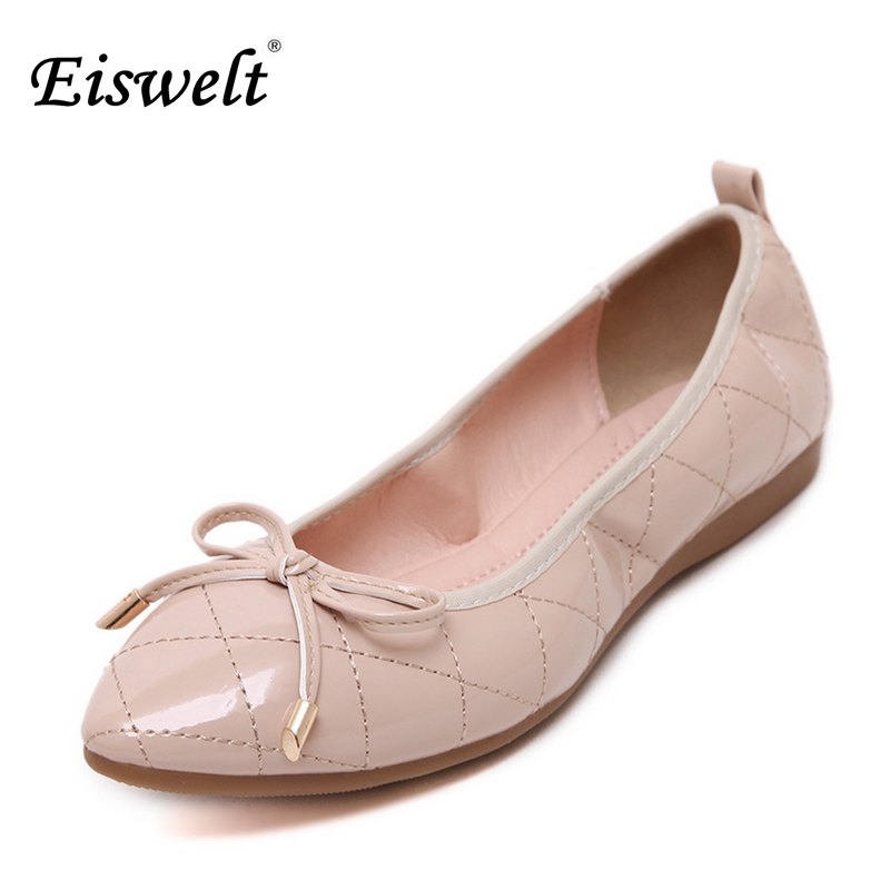 Eiswelt 2017 Women Shoes Ladies Pointed Toe Flat Shoes Work Loafers Women Casual Shoes Sweet Women Flats Plus Size35- 42#EGMJ73 new 2017 spring summer women shoes pointed toe high quality brand fashion womens flats ladies plus size 41 sweet flock t179
