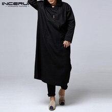 INCERUN Ретро китайские мужские толстовки Халат длинный рукав хлопок Полная длина исламский арабский кафтан Одежда Мусульманский костюм этнический