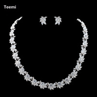 Teemi White Gold Plated High Quality Sparkling AAA Cubic Zirconia Necklace Earrings Set For Women Wedding