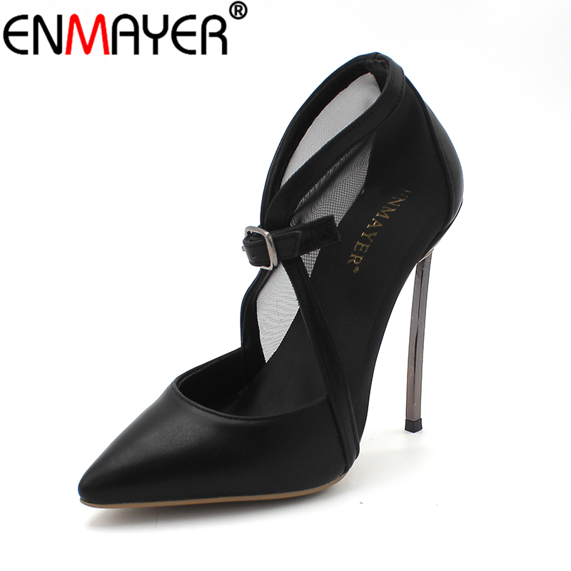 ENMAYER High Heels Pumps Buckle Strap Pointed Toe Sexy Stiletto Cover Heels Fashion Shoes Women Classic Black Plus Size 34-46 four leaves colorful wings rainbow butterfly shaped metal hand fidget spinner toy edc toy spinner gift kids adult finger