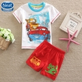 Neat New summer 2016 baby boy clothes printing fancy cartoon toy car short sleeve T-shirt&Short Pants baby boy suit set TBS5521#