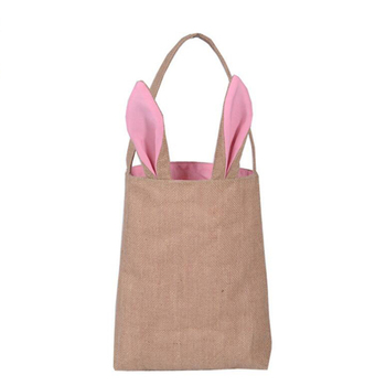 10Pcs/lot Easter Bunny Bags Easter Basket Jute Cloth Material Easter Egg Bags For Easter Decoration Party Supplies