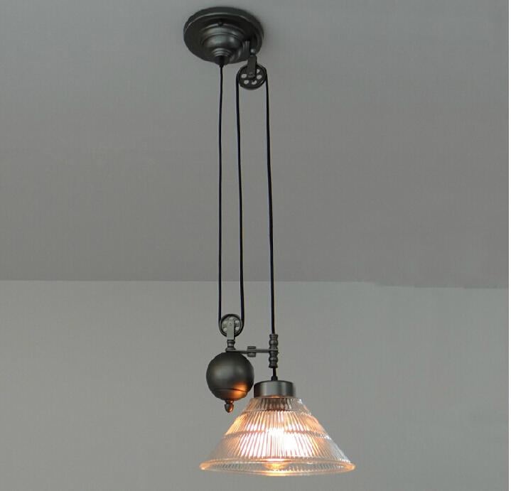 Vintage Iron Art Pendant Lights RH Loft American Pulley Adjustable Wire Retractable Bar Hanging Lighting