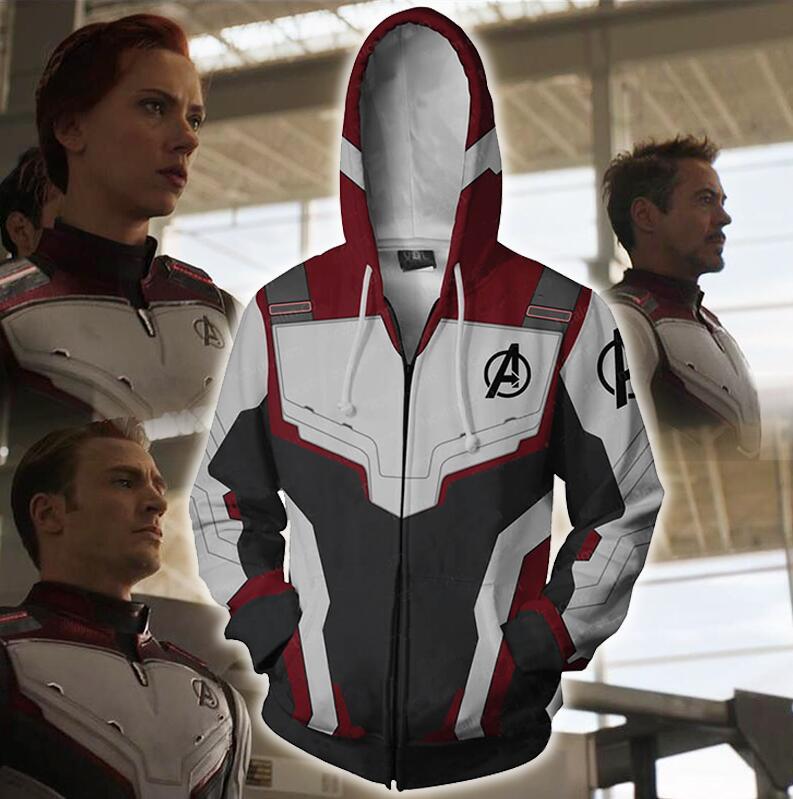 Avengers Endgame Quantum Realm Cosplay Costume Hoodie Sweatshirt Superhero Captain America Iron Man Coat Jacket Hoodie Men Women in Movie TV costumes from Novelty Special Use