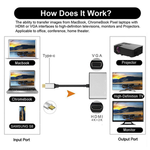 "Image 4 - ""노트북을위한 hdmi + vga 회색 hdmi 변환기에 TYPE C"