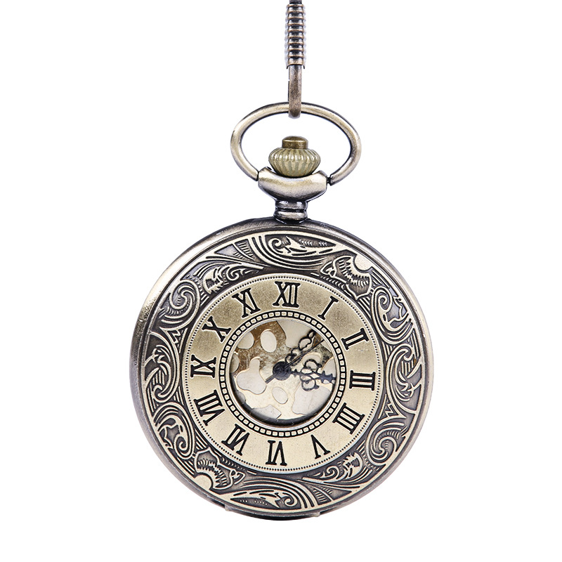 Retro Golden Surface  Clamshell Large Classical Roman Numerals Fashion Pocket Watch With Waist Chain
