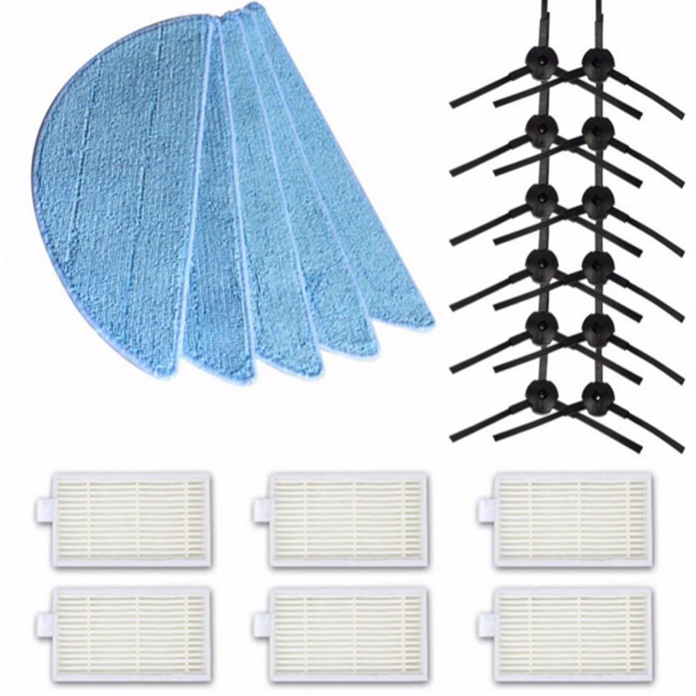 12pcs side Brush (6pair) +6pcs hepa Filter+5pcs Mop Cloth  for  chuwi ilife V5 V3 series parts ilife v5pro v5s ilife v5 pro ntnt 5pair side brush 5pcs hepa filter 5pcs mop cloth for chuwi ilife v5 v3 series parts ilife v5pro v5s ilife v5 pro ect