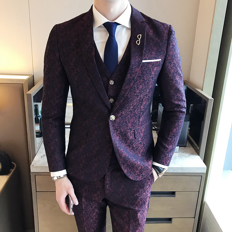 British Yarn-dyed Printing Wine Red Suit Custom Made Wedding Suits With Pants Mens Tuxedos Grooms Shawl Lapel One Button Set