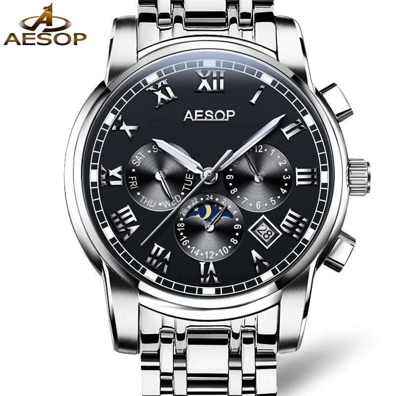AESOP Brand Fashion Watch Men Automatic Mechanical Wristwatch Waterproof Multifunction Male Clock Watches Relogio Masculino aesop brand fashion watch men automatic mechanical wristwatch hollow waterproof tungsten steel male clock relogio masculino 46