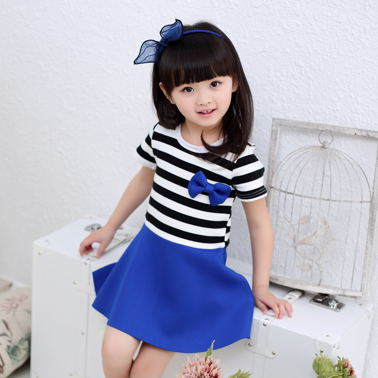 f7e21d1a4 3 7Years Baby Girls Summer Style Cotton Bow Striped Party Dresses ...
