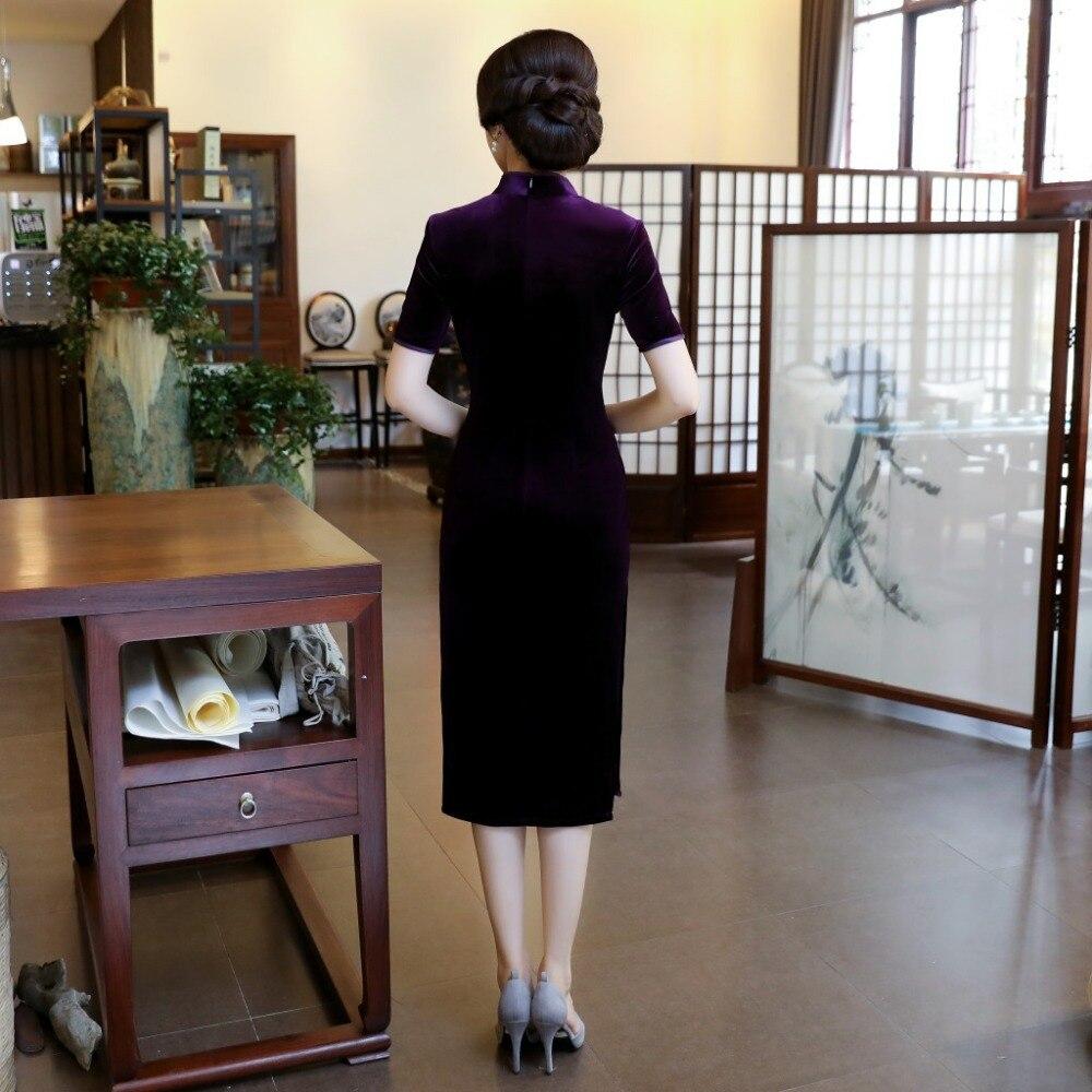 Soirée Chinois 1 New Velours Femmes Soie Taille L Xxxl Xl 2 Haut Qipao M Xxl La Fashion Robe Plus Cheongsam Purple De 4Lqj5AR3