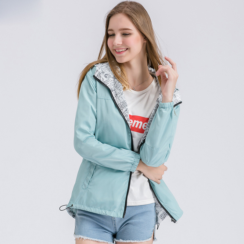 New Fashion Autumn Hooded Womens Windbreak Jacket Big Size Loose Top Basic Coat For Ladies Both Sides Can Wear Outwear Coats