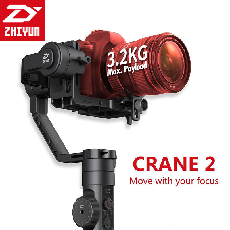 Zhiyun Crane 2 3-Axis Handheld Gimbal Video Camera Gyro Stablizer Brushless For Canon For Nikon For DSLR Camera Load 3200g professional dv camera crane jib 3m 6m 19 ft square for video camera filming with 2 axis motorized head