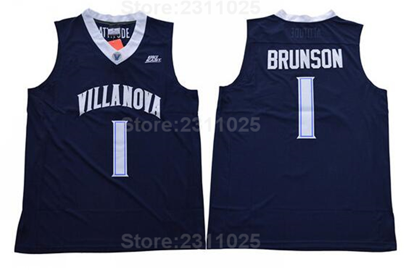 Ediwallen Cheap Jalen Brunson Jersey 1 Men College Basketball Villanova Wildcats Jerseys Sewing Sports Navy Blue Team Road White