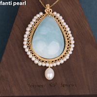 Handmade golden line aquamarine necklace freshwater Pearl necklace for woman