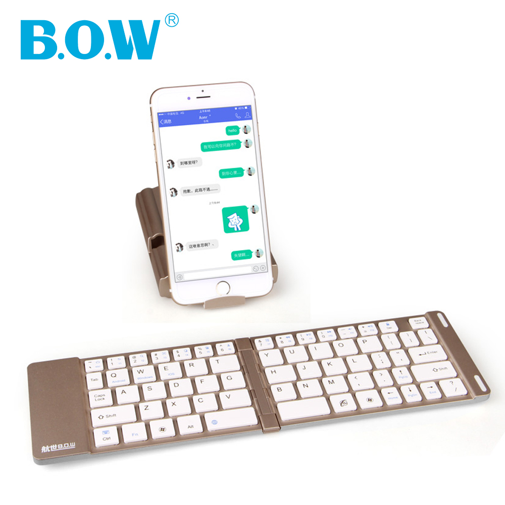 B.O.W Mini tipkovnica, brezžična Bluetooth zložljiva aluminijasta tipkovnica s stojalom za telefon s tablicami, samodejno vklopi / izklopi