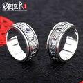 Beier 925 joyas de plata esterlina clásico om padme hun principal solo anillo de hombre y mujeres anillo gema roja y azul único BR925R043