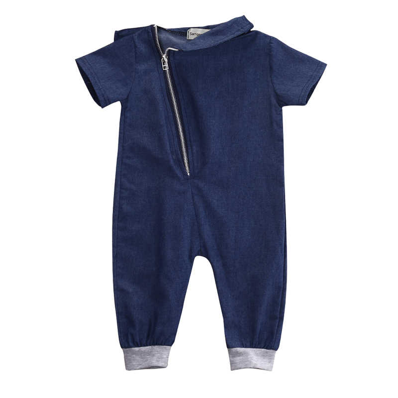 6e8690c9d Newborn Infant Baby Girls Boy Jumpsuit Romper Outfits Clothes Boys jeans  Clothes Denim Short Sleeve Solid