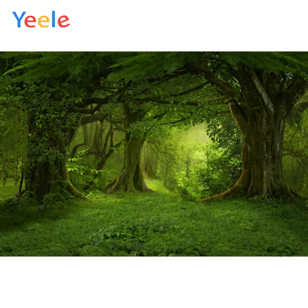 Yeele Forest Jungle Backdrop Green Tree Grass Mystery Party Nature Photography Background Photocall Photophone For Photo Booth in Background from Consumer Electronics