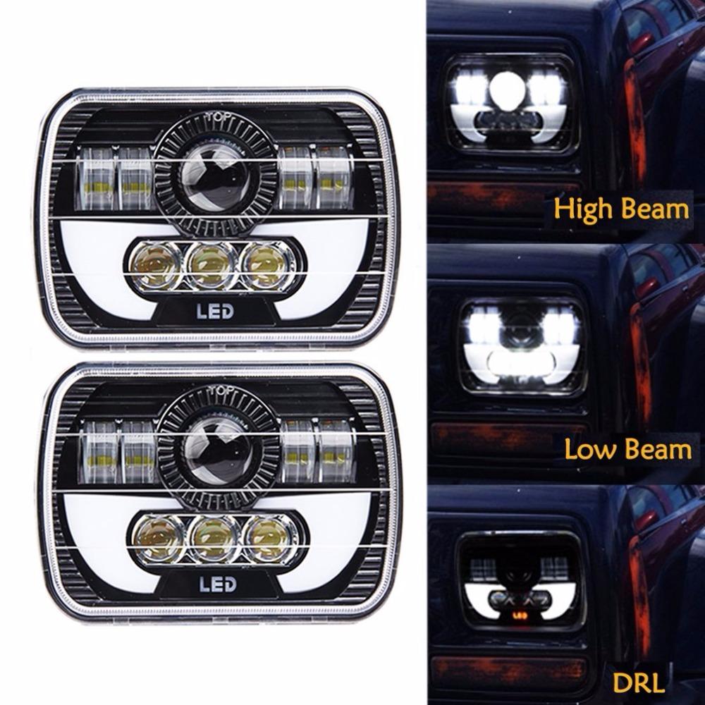 Pair 5X7 Headlights Black Rectangular LED