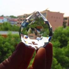 Wyczyść 40mm fasetowany szklany pryzmat z kryształowej kuli żyrandol kryształowe części do zawieszenia żarówka Suncatcher ślubny wystrój domu tanie tanio Kryształowy żyrandol G-101 Crystal chandelier prism ball chandelier crystal parts K9 Crystal Clear 1pcs