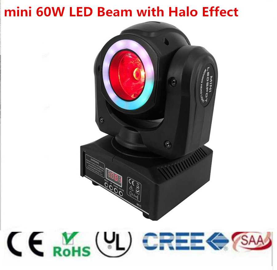 Mini Led 60W Beam Moving With Halo Effect RGBW 4in1 Dj Light Beam Moving Heads Lights Super Bright LED DJ Spot Light Dmx Control