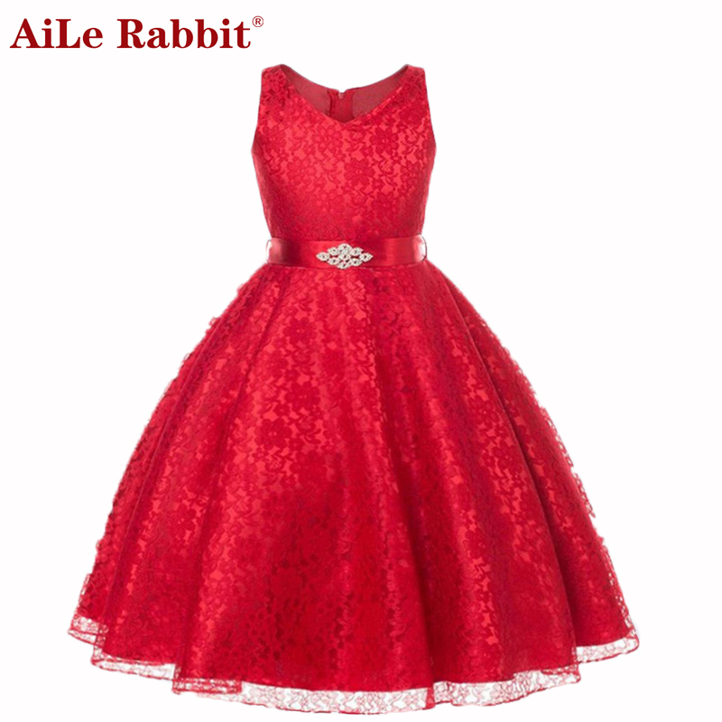 AiLe Rabbit 2017 Tulle Tutu Flower Girls Dresses Princess Toddler Baby Kids Clothes Teenager Girl Dress Birthday Clothing