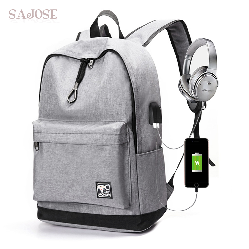 Backpack For Women Student USB Charging Unisex With Headphone Plug High Quality Casual Canvas Travel Shoulder School Bag SAJOSE big capacity high quality canvas shark double layers pen pencil holder makeup case bag for school student with combination coded lock