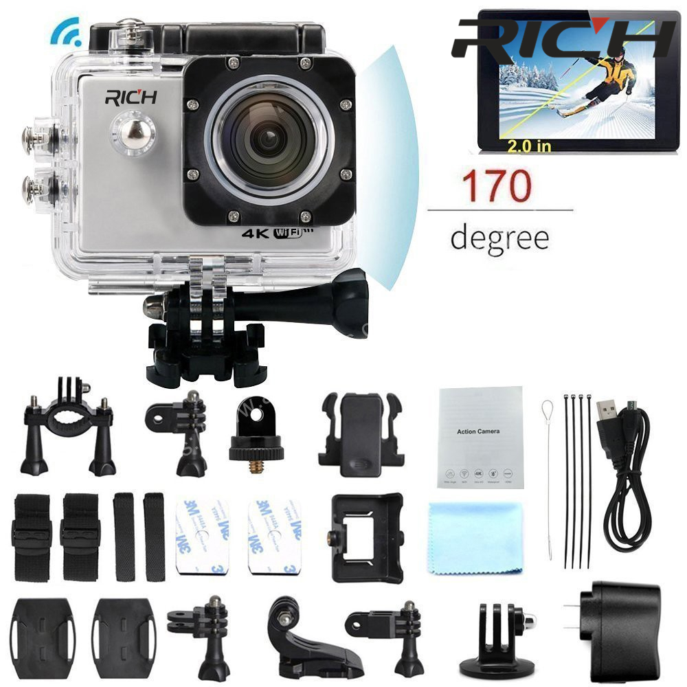 RICH Action camera WIFI HD 1080P 2.0 LCD 170D lens go Helmet outdoor Cam Underwater waterproof pro sports cameras DV Cam corder -in Sports & Action Video Camera from Consumer Electronics