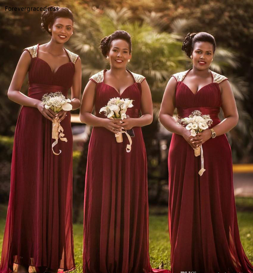 Burgundy   Bridesmaid     Dresses   A Line Chiffon Summer Country Garden Wedding Party Guest Maid of Honor Gowns Plus Size Custom Made