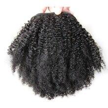 DLME Странный Вьющиеся Хвост Для Чернокожих Женщин Афро Кудри 1 Шт. Клип В Хвостики 100% Натуральных Волос Высокая Температура Волосы