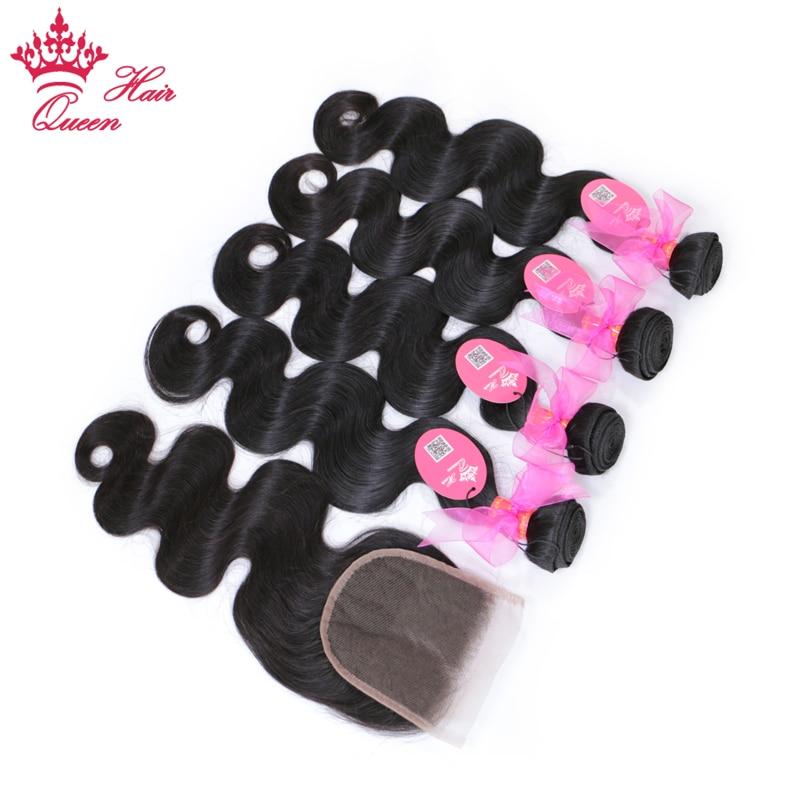 Queen Hair Products 4pcs Brazilian Body Wave Bundles With Closure 100% Remy Human Hair Bundle Deals with Lace Closure 5pcs/lot