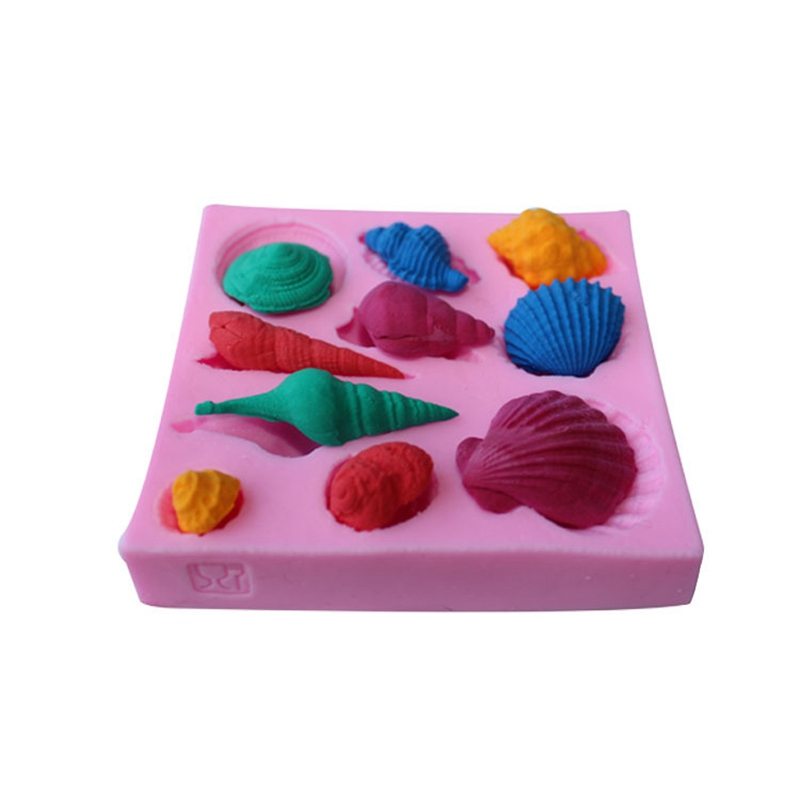 Good 3D Shell Starfish Conch Sea Animal Silicone Soap Mold Cookware Fondant Sugarcraft Non-Stick Cake Chocolate Decorating Tools