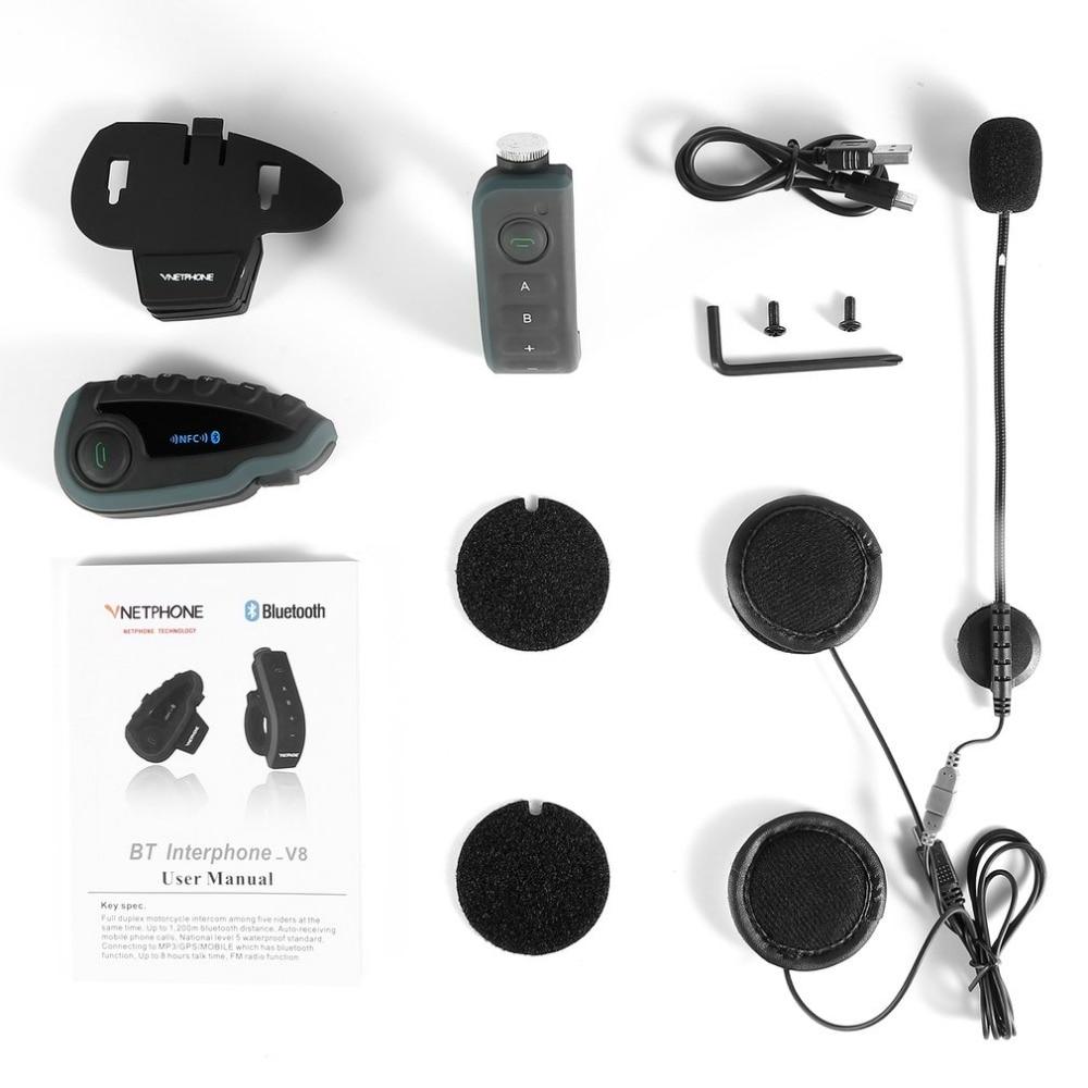 Vnetphone V8 Motorcycle Helmet Intercom NFC Remote Control Bluetooth Interphone Headset 5 Rider 1200M Full Duplex talking vnetphone helmet headset motorcycle intercom 1200m helmet bluetooth interphone full duplex 5 people at the same time intercom v8