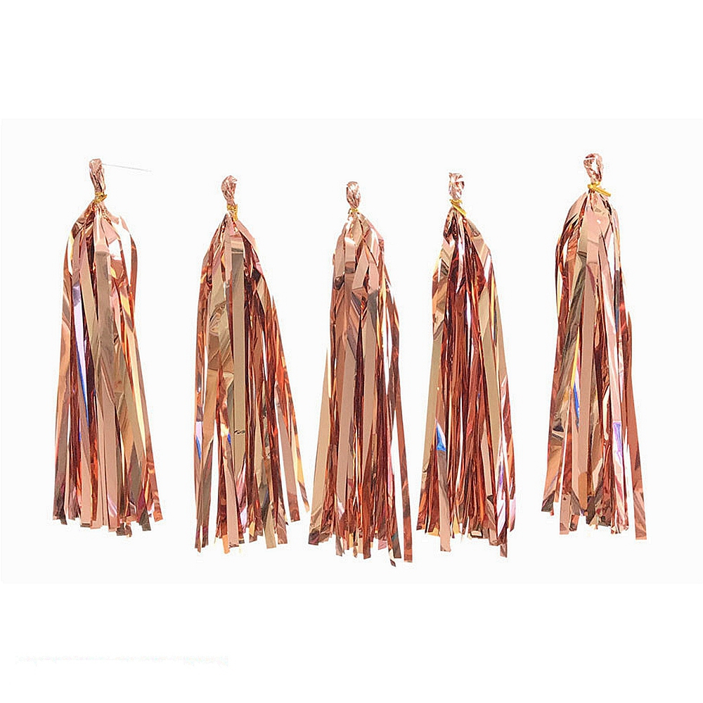5pcs Rose Gold Paper Tassel Garland Tissue Fringe Bunting Wedding Nursery Baby Shower First Birthday Party in Party DIY Decorations from Home Garden