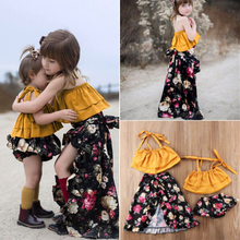 Sister Matching Outfits Baby Kid Girl Sleeveless Top+Floral Print Skirts /Shorts 2pcs Set ClothesSize 0-6T