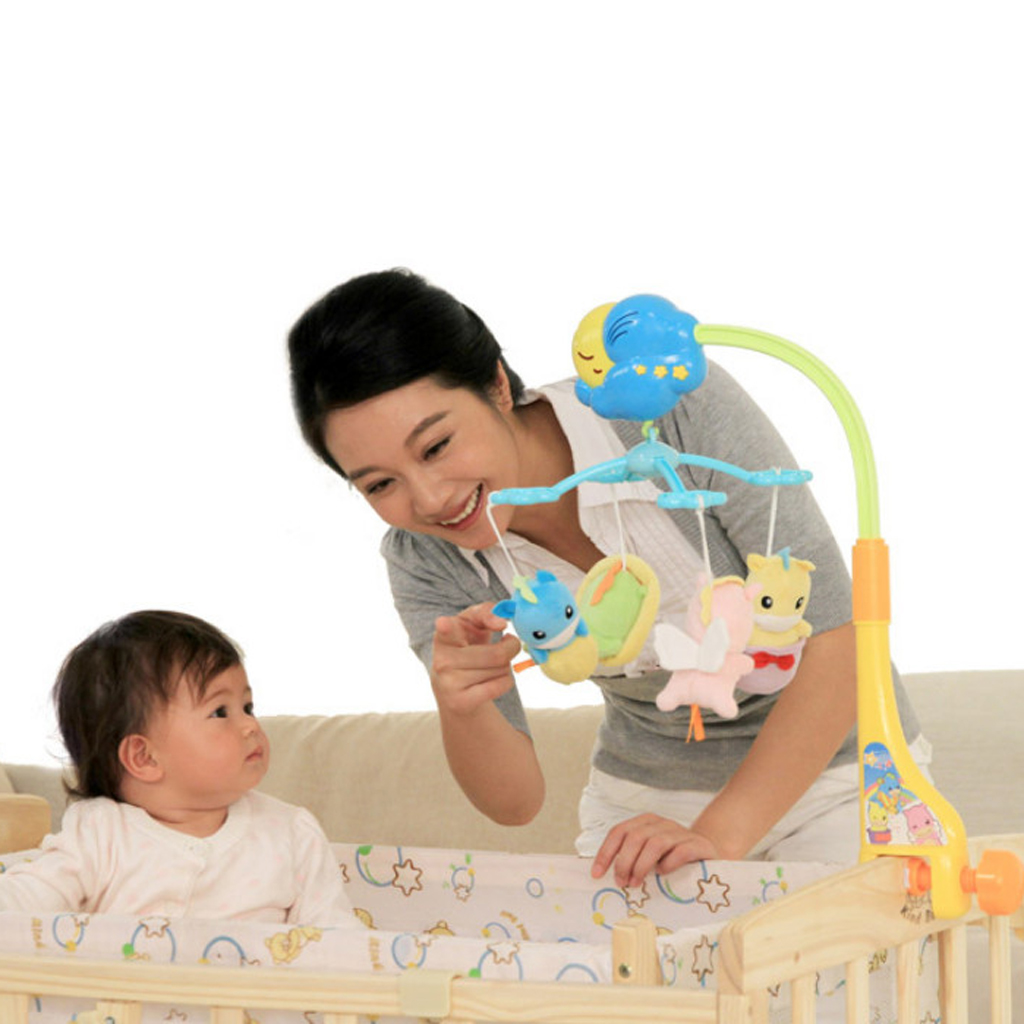 Auby Baby Crib Bell Toy Toddler Mobile Nursery Rotatable Musical Bed Bell Cartoon Animal Newborn Infant Baby Educational Toys shiloh crib mobile infant baby play toys animal bed bell toy mobile cute lovely electric baby music educational toys 60 songs