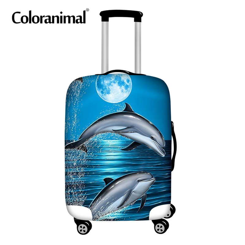 Coloranimal 3D Hawaiian Dolphin Print Luggage Covers Protective Rain Dust Travel Trolley Cover Travel Accessories For 18-30 Inch