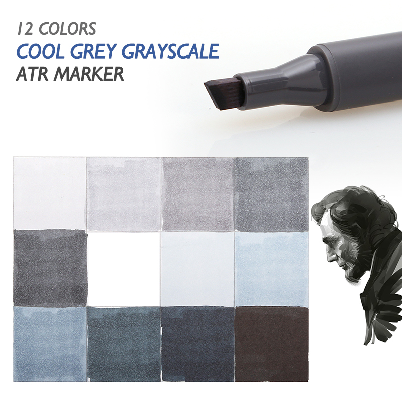 STA 12 Cool Grey Colors Art Markers Grayscale Artist Dual Head Markers Set for Brush Pen Painting Marker School Student Supplies dainayw 12 cool grey colors marker pen grayscale dual head art markers set for manga design drawing school student supplies